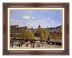 Claude Monet Quai Du Louvre Paris canvas with dark regal wood frame