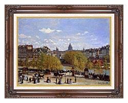 Claude Monet Quai Du Louvre Paris canvas with dark regal wood frame