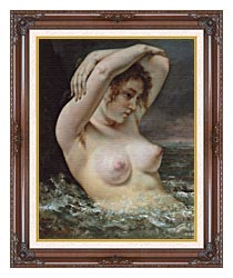 Gustave Courbet Woman In The Waves canvas with dark regal wood frame
