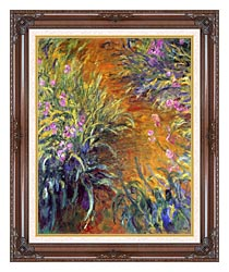 Claude Monet The Path Through The Irises canvas with dark regal wood frame