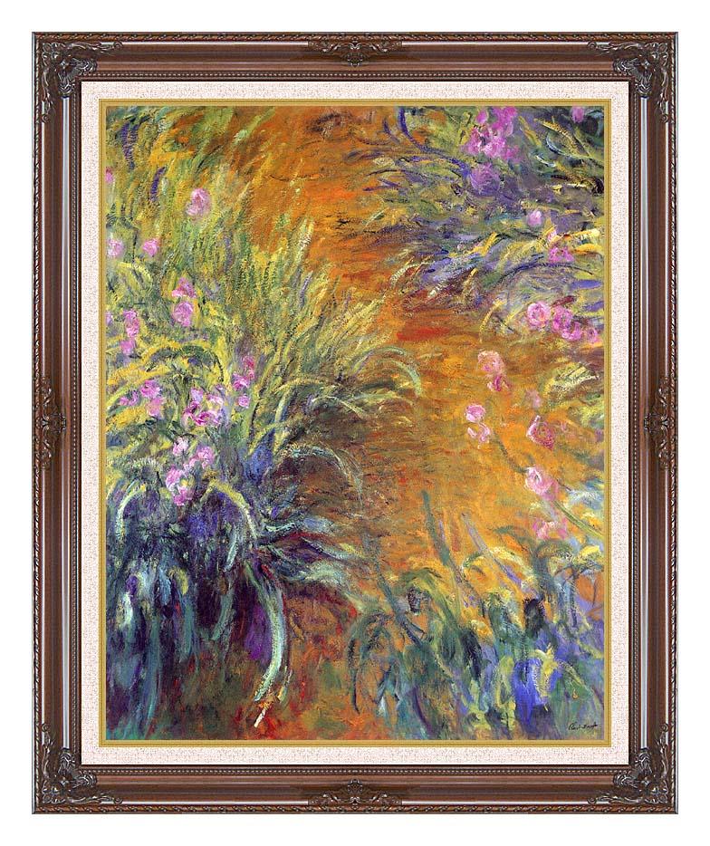 Claude Monet The Path Through the Irises with Dark Regal Frame w/Liner