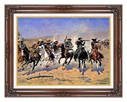 Frederic Remington A Dash For The Timber Detail canvas with dark regal wood frame