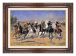 Frederic Remington A Dash For The Timber canvas with dark regal wood frame