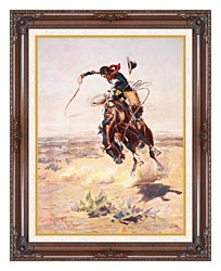 Charles Russell A Bad Hoss canvas with dark regal wood frame