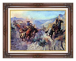 Charles Russell A Mix Up canvas with dark regal wood frame