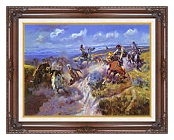 Charles Russell A Tight Dally And Loose Latigo canvas with dark regal wood frame