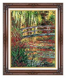 Claude Monet Water Garden And Japanese Footbridge canvas with dark regal wood frame