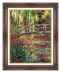 Claude Monet Water Garden And Japanese Footbridge canvas with dark regal wood frame