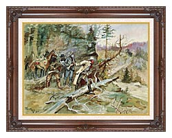Charles Russell Big Nose George And The Road Agents canvas with dark regal wood frame