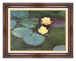Claude Monet Green Water Lilies canvas with dark regal wood frame