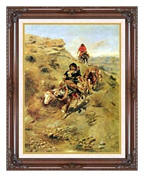 Charles Russell Bringing Home The Meat canvas with dark regal wood frame