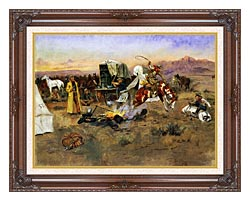 Charles Russell Bronc In Cow Camp canvas with dark regal wood frame