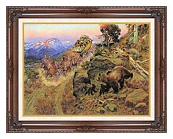 Charles Russell Bruin Not Bunny Turned The Leaders canvas with dark regal wood frame