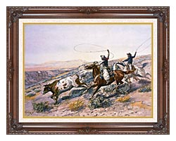 Charles Russell Buccaroos canvas with dark regal wood frame