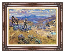 Charles Russell Buffalo Bills Duel With Yellowhand canvas with dark regal wood frame