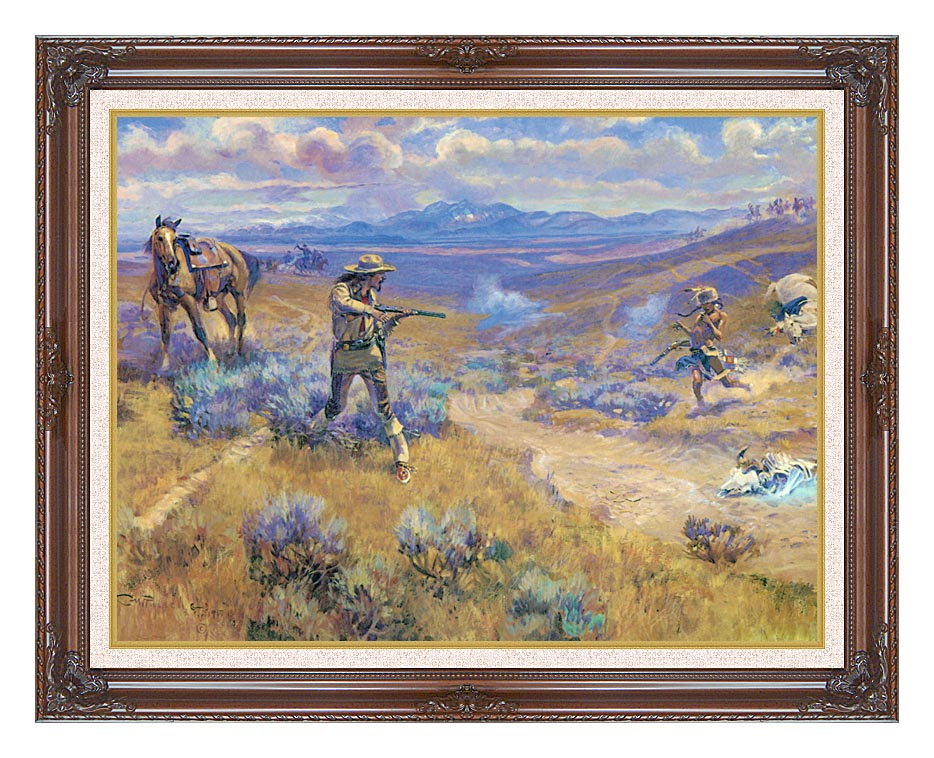 Charles Russell Buffalo Bill's Duel with Yellowhand with Dark Regal Frame w/Liner