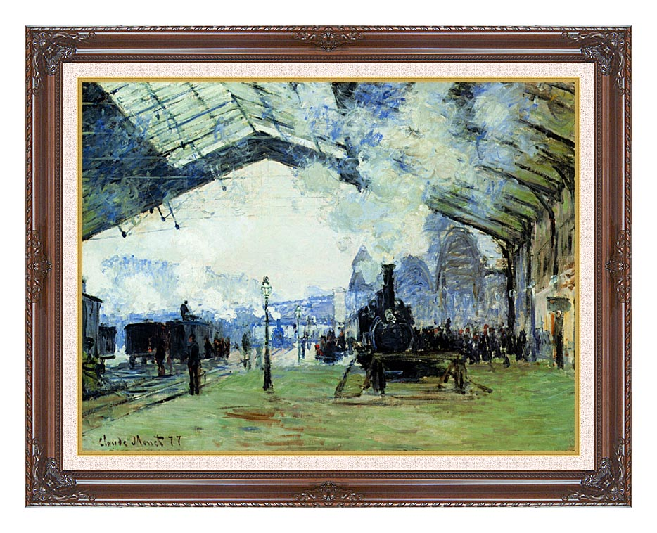 Claude Monet Arrival of the Normandy Train with Dark Regal Frame w/Liner