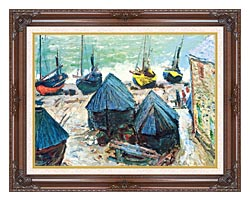 Claude Monet Boats In Winter Quarters canvas with dark regal wood frame