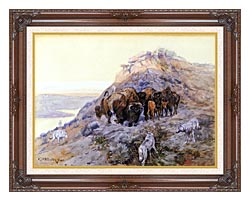 Charles Russell Buffalo Herd At Bay canvas with dark regal wood frame