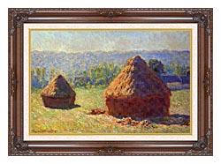 Claude Monet Haystacks canvas with dark regal wood frame