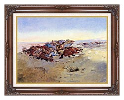 Charles Russell Caught In The Circle canvas with dark regal wood frame