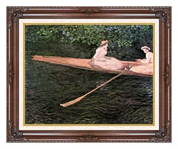 Claude Monet In A Canoe On The Epte River canvas with dark regal wood frame