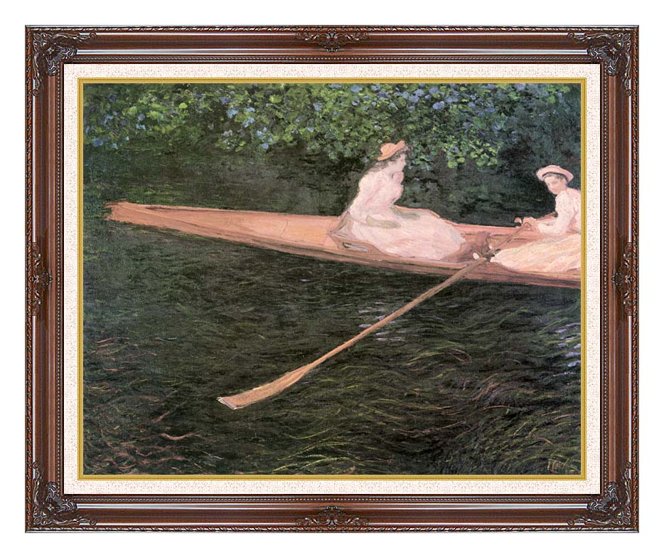 Claude Monet In a Canoe on the Epte River with Dark Regal Frame w/Liner
