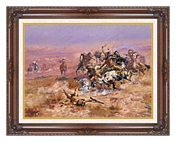 Charles Russell Counting Coup canvas with dark regal wood frame