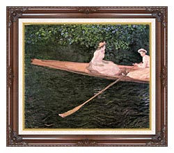 Claude Monet A Canoe On The Epte River canvas with dark regal wood frame