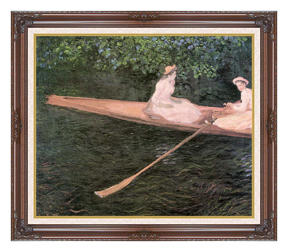 Claude Monet A Canoe on the Epte River with Dark Regal Frame w/Liner