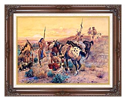 Charles Russell First Wagon Tracks canvas with dark regal wood frame