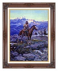 Charles Russell Free Trappers canvas with dark regal wood frame
