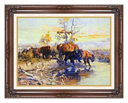 Charles Russell His Heart Sleeps canvas with dark regal wood frame