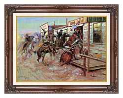 Charles Russell In Without Knocking canvas with dark regal wood frame