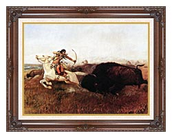 Charles Russell Indians Hunting Buffalo canvas with dark regal wood frame