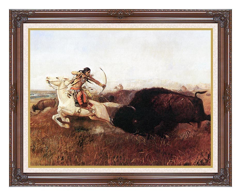 Charles Russell Indians Hunting Buffalo with Dark Regal Frame w/Liner
