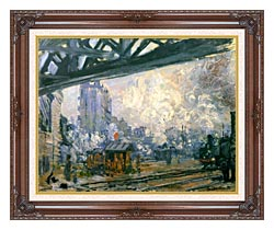 Claude Monet Outside View Of The Normandy Line canvas with dark regal wood frame