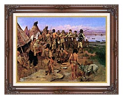 Charles Russell Lewis And Clark Expedition Meeting With Indians canvas with dark regal wood frame