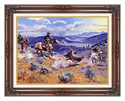 Charles Russell Loops And Swift Horses Are Surer Than Lead canvas with dark regal wood frame