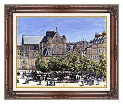 Claude Monet Saint Germain Lauxerrois canvas with dark regal wood frame