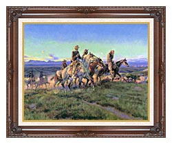 Charles Russell Men Of The Open Range Detail canvas with dark regal wood frame