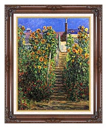 Claude Monet Steps At Vetheuil canvas with dark regal wood frame
