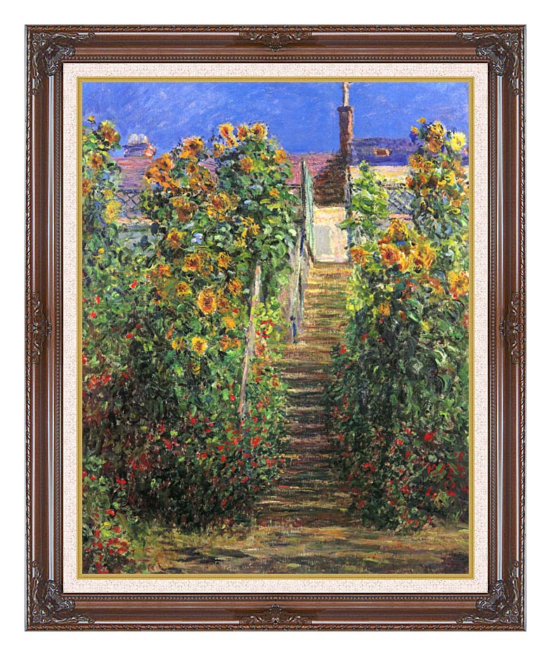 Claude Monet Steps at Vetheuil with Dark Regal Frame w/Liner