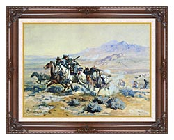 Charles Russell On The Attack canvas with dark regal wood frame