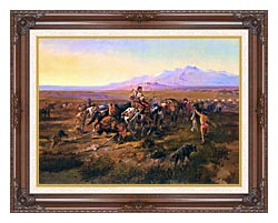 Charles Russell Returning To Camp canvas with dark regal wood frame