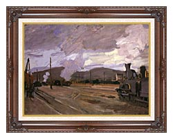 Claude Monet The Gare Dargenteuil canvas with dark regal wood frame