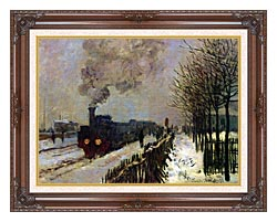 Claude Monet The Locomotive In Snow canvas with dark regal wood frame