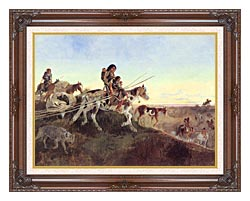 Charles Russell Seeking New Hunting Grounds canvas with dark regal wood frame