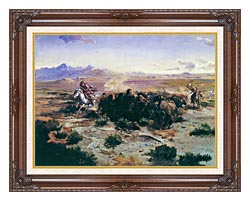 Charles Russell The Buffalo Hunt canvas with dark regal wood frame
