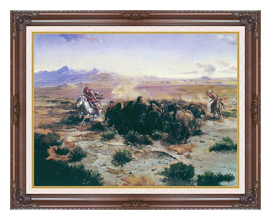 Charles Russell The Buffalo Hunt with Dark Regal Frame w/Liner